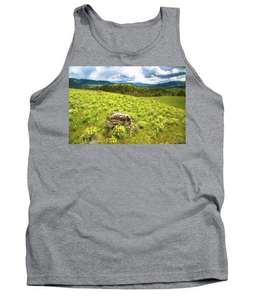 Mountain Meadow Impressionist Digital Art Tank Top