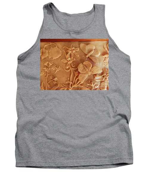 Mountain Meadow Original Clay Relief - Checkerspot Butterfly Detail Tank Top by Dawn Senior-Trask