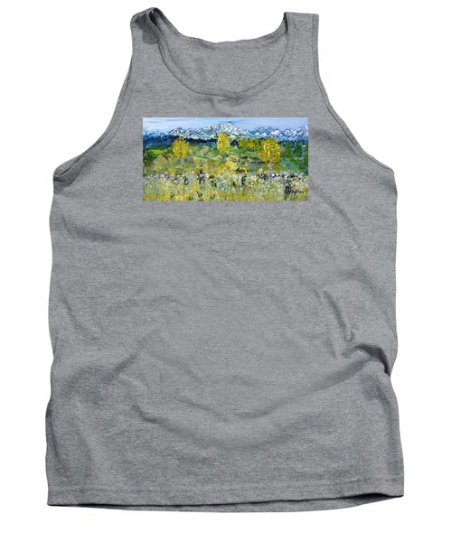 Tank Top featuring the painting Mountain View by Evelina Popilian