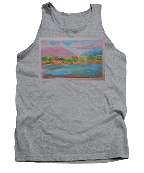 Tank Top featuring the painting Mt Desert From Marlboro Beach by Francine Frank
