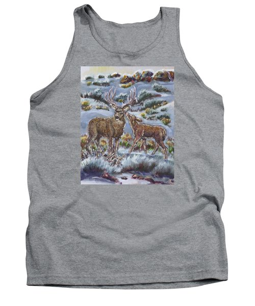 Tank Top featuring the painting Mule Deer Lovers From River Mural by Dawn Senior-Trask