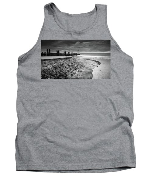 Tank Top featuring the photograph Mundesley Beach - Mono by James Billings