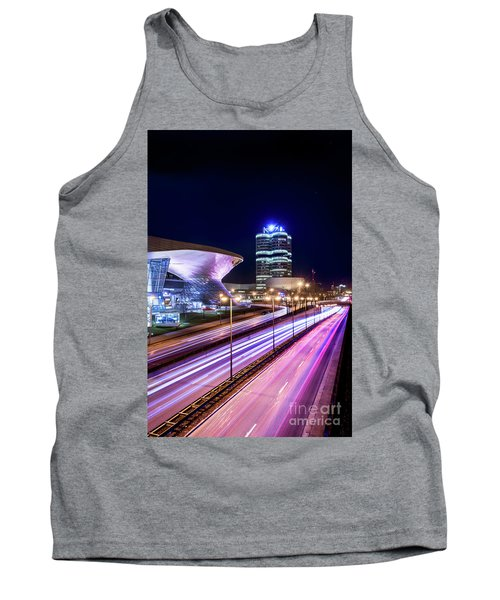 Tank Top featuring the pyrography Munich - Bmw City At Night by Hannes Cmarits