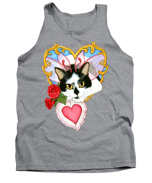 Tank Top featuring the painting My Feline Valentine Tuxedo Cat by Carrie Hawks