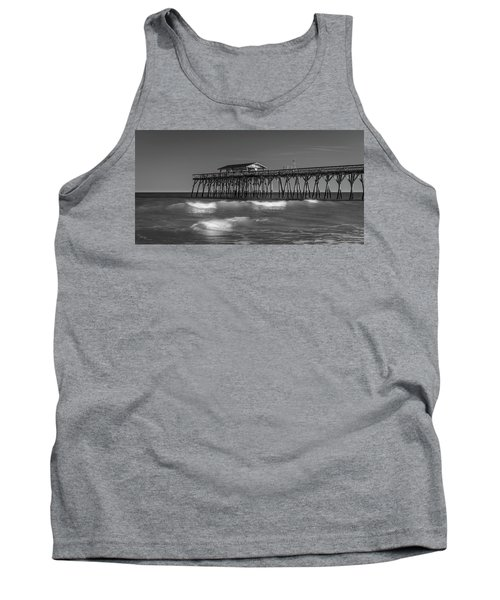 Myrtle Beach Pier Panorama In Black And White Tank Top
