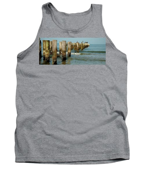 Naples Pier And Pelicans Tank Top