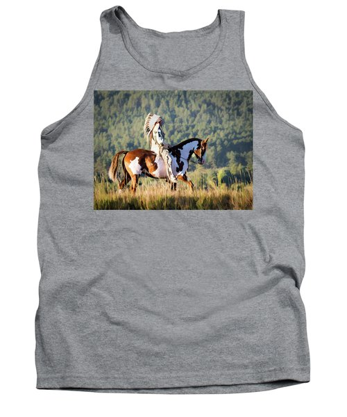Native American On His Paint Horse Tank Top
