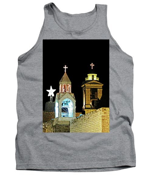 Tank Top featuring the photograph Nativity Church Lights by Munir Alawi