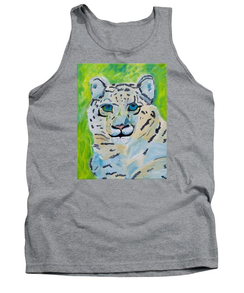 Eyes On You Snow Leopard Tank Top by Meryl Goudey