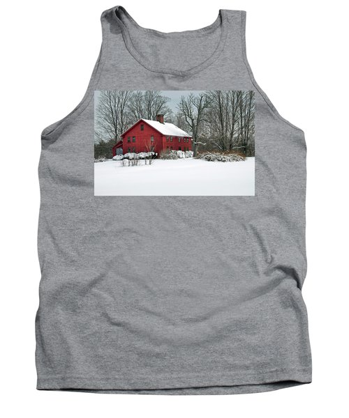 New England Colonial Home In Winter Tank Top