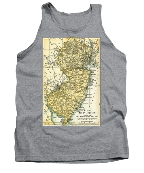 New Jersey Antique Map 1891 Tank Top