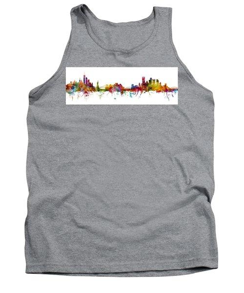 New York And Pittsburgh Skyline Mashup Tank Top