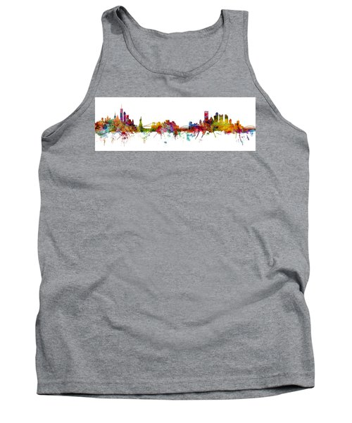 New York And Pittsburgh Skyline Mashup Tank Top