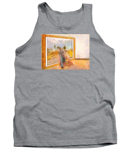Tank Top featuring the painting Night At The Art Gallery - Railway To Freedom by Wayne Pascall