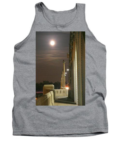 Night Shot Of The Los Angeles 6th Street Bridge And Supermoon #3 Tank Top