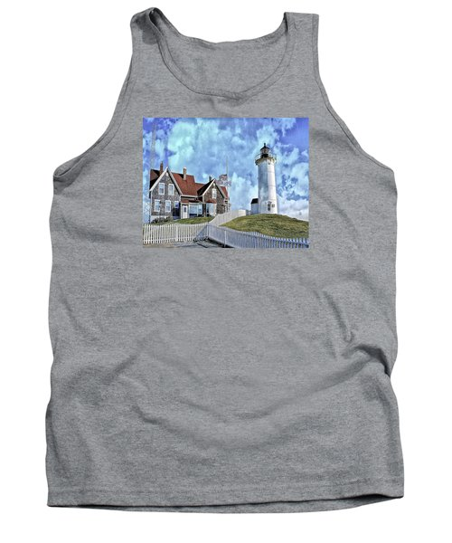 Tank Top featuring the photograph Nobska Point Lighthouse Falmouth Cape Cod by Constantine Gregory