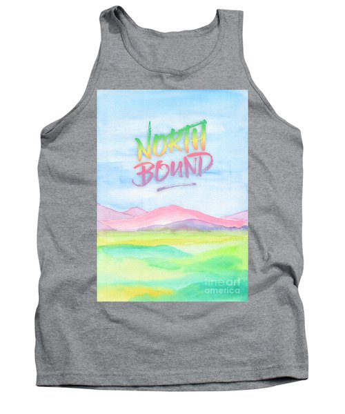 North Bound Pink Purple Mountains Watercolor Painting Tank Top