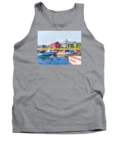 North Shore Art Association At Pirates Lane On Reed's Wharf From Beacon Marine Basin Tank Top by Melissa Abbott