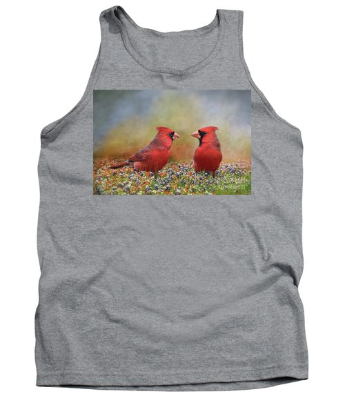 Tank Top featuring the photograph Northern Cardinals In Sea Of Flowers by Bonnie Barry