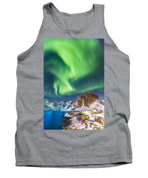 Northern Lights In Hamnoy Tank Top by Alex Conu
