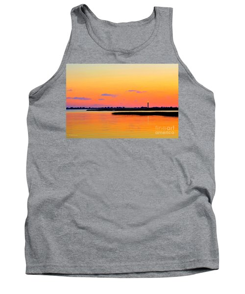 Tank Top featuring the photograph Oak Island Lighthouse Sunset by Shelia Kempf