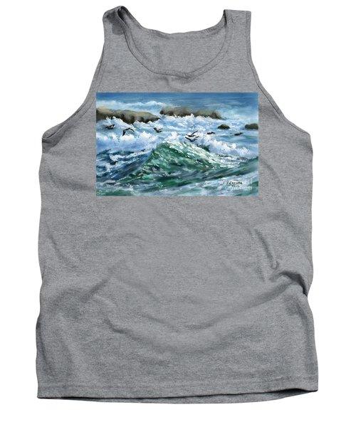 Ocean Waves And Pelicans Tank Top by Judy Filarecki