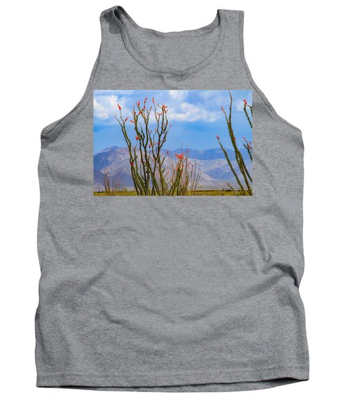 Ocotillo Cactus With Mountains And Sky Tank Top