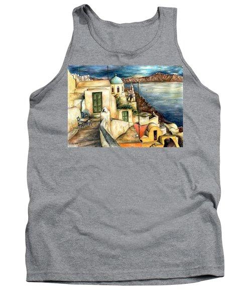 Oia Santorini Greece - Watercolor Tank Top