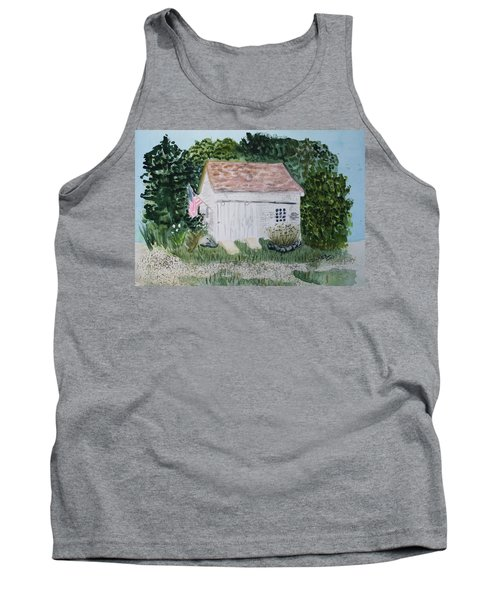 Tank Top featuring the painting Old Barn In Eastham Ma by Donna Walsh