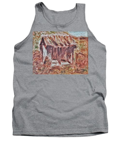 Old Barn Outhouse Falling Apart In Decay And Dilapidation Rotting Wood Overgrown Mountain Valley Sce Tank Top
