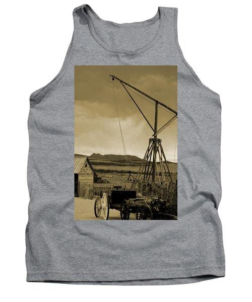 Old Crane And Shed Utah Countryside In Sepia Tank Top