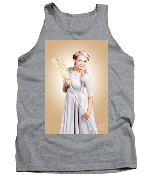 Old Fashion Woman Spring Cleaning With Broom Tank Top