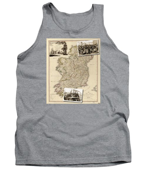 Vintage Map Of Ireland With Old Irish Woodcuts Tank Top