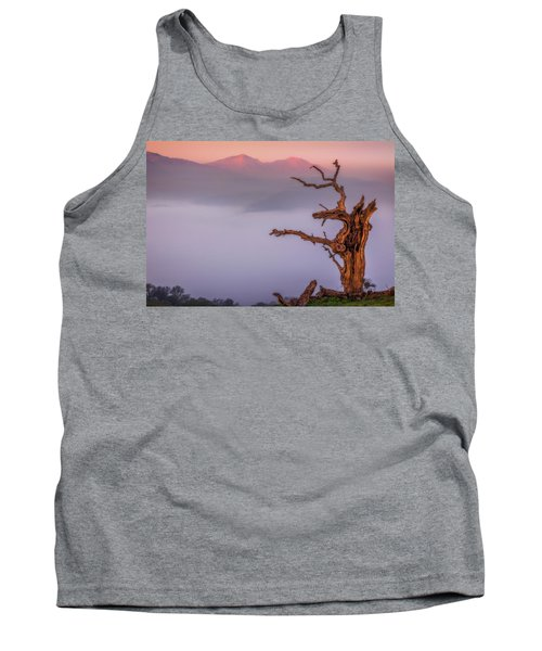 Old Oak And Mt. Diablo On A Foggy Morning Tank Top