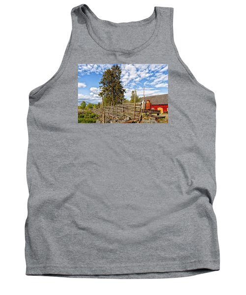 Old Rural Farm Set In A Beautiful Summer Nature Tank Top