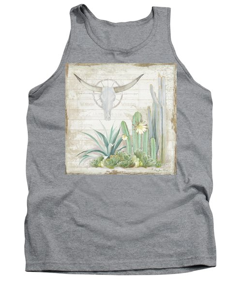 Old West Cactus Garden W Longhorn Cow Skull N Succulents Over Wood Tank Top