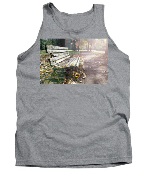 Rustic Wooden Bench During Late Autumn Season On Bright Day Tank Top