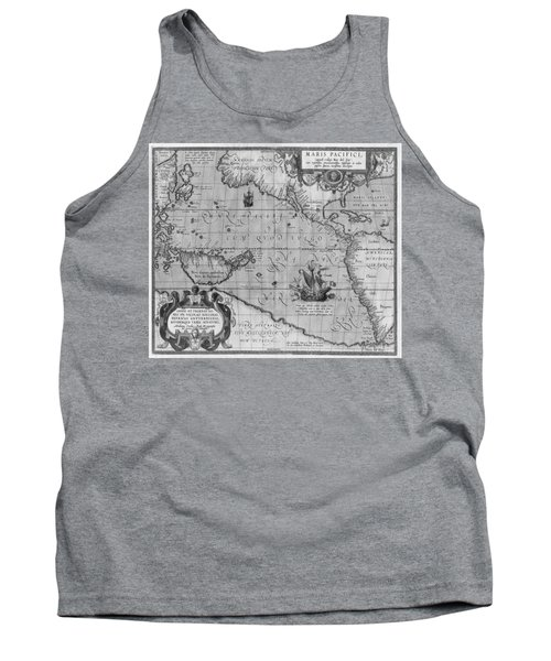 Old World Map Print From 1589 - Black And White Tank Top
