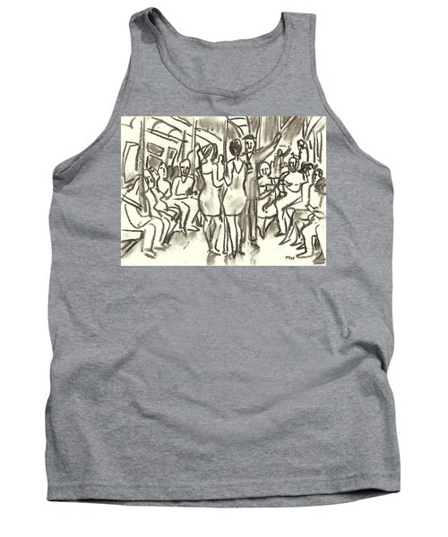 On The A, New York City Subway Drawing Tank Top