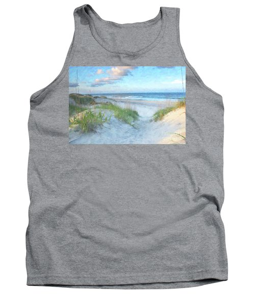 On The Beach Watercolor Tank Top by Randy Steele