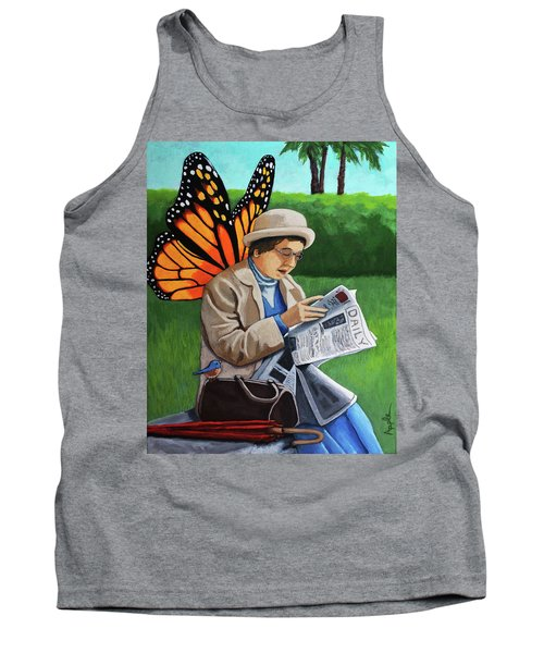 Tank Top featuring the painting On Vacation -butterfly Angel Painting by Linda Apple