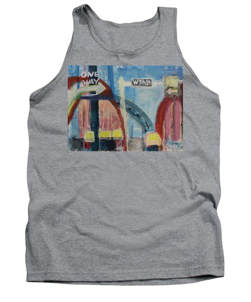 Tank Top featuring the painting One Way To 7th Street by Susan Stone