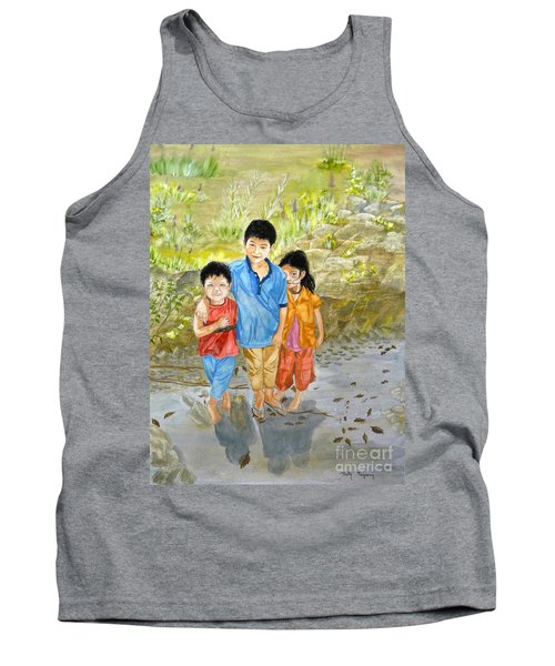 Tank Top featuring the painting Onion Farm Children Bali Indonesia by Melly Terpening