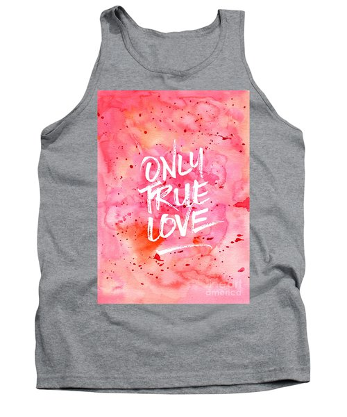 Only True Love Handpainted Abstract Watercolor Red Pink Orange Tank Top