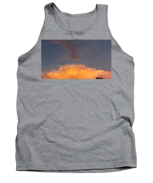 Orange Cloud With Grey Puffs Tank Top