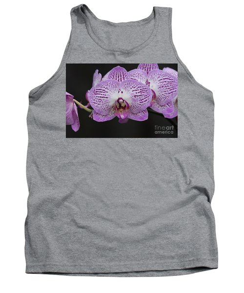 Orchids On Black Tank Top