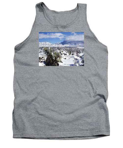 Tank Top featuring the photograph Winter's Blanket Organ Mountains by Kurt Van Wagner