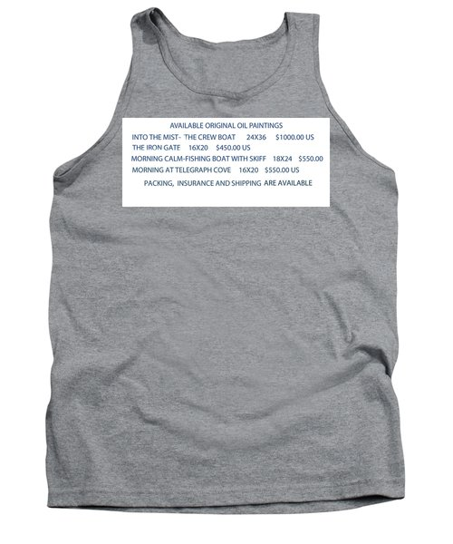 Original Oil Painting Availability List Tank Top by Gary Giacomelli