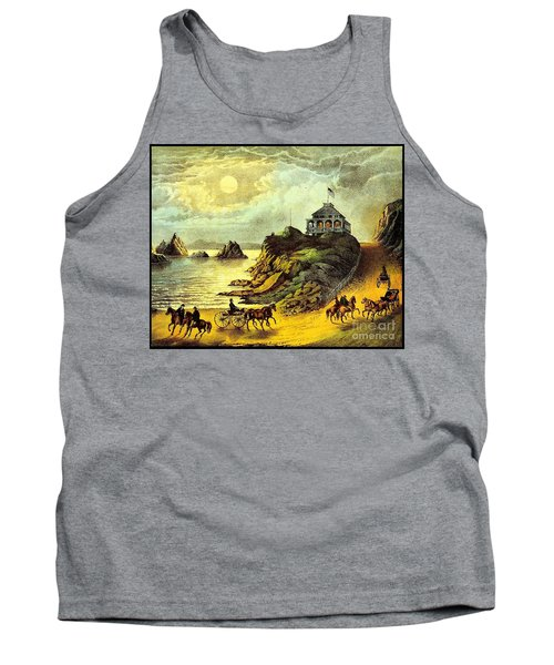 Tank Top featuring the painting Original San Francisco Cliff House Circa 1865 by Peter Gumaer Ogden