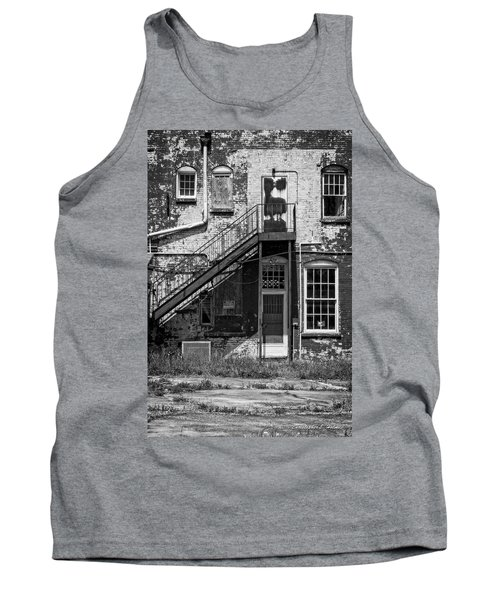 Tank Top featuring the photograph Over Under The Stairs - Bw by Christopher Holmes